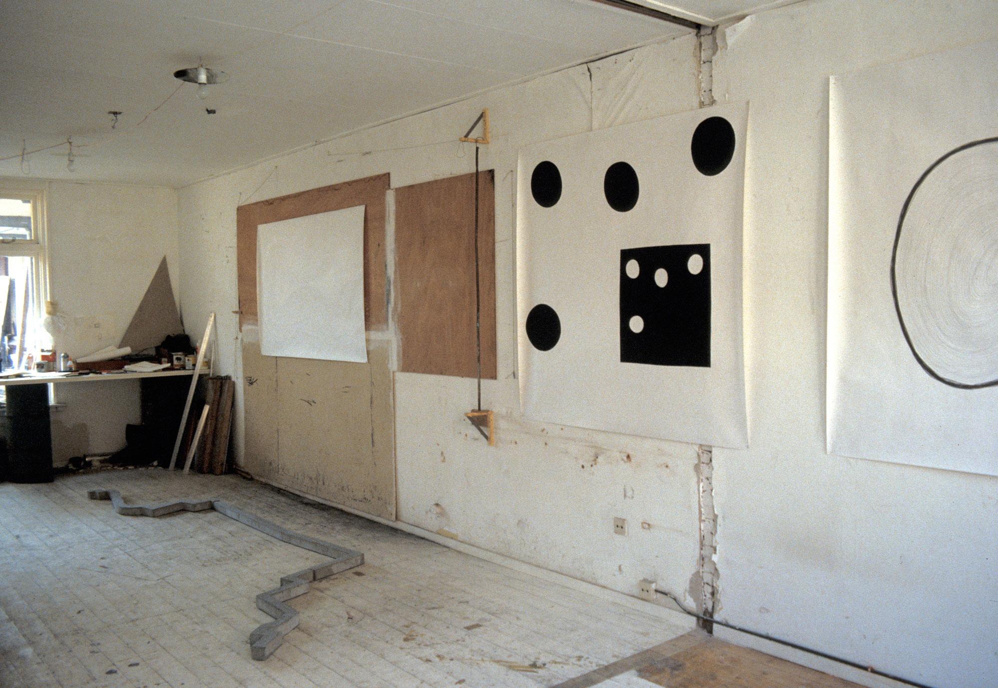 Maarten Greve studio with drawings, Groningen